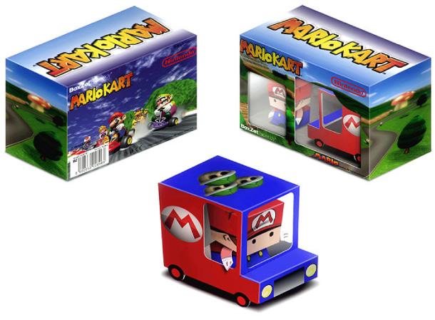 Papercraft imprimible y recortable de un camión de juguete con Super Mario. Manualidades a Raudales.