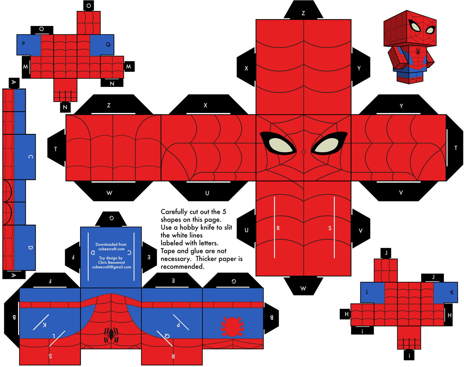 pin blog paper toy papertoy spider man template preview