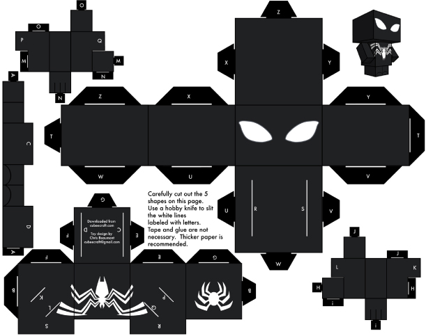Blog Paper Toy papertoy Spider Man Template black preview Amazing Spider Man Papertoy
