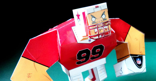 Photo paper toy Superbowl Player