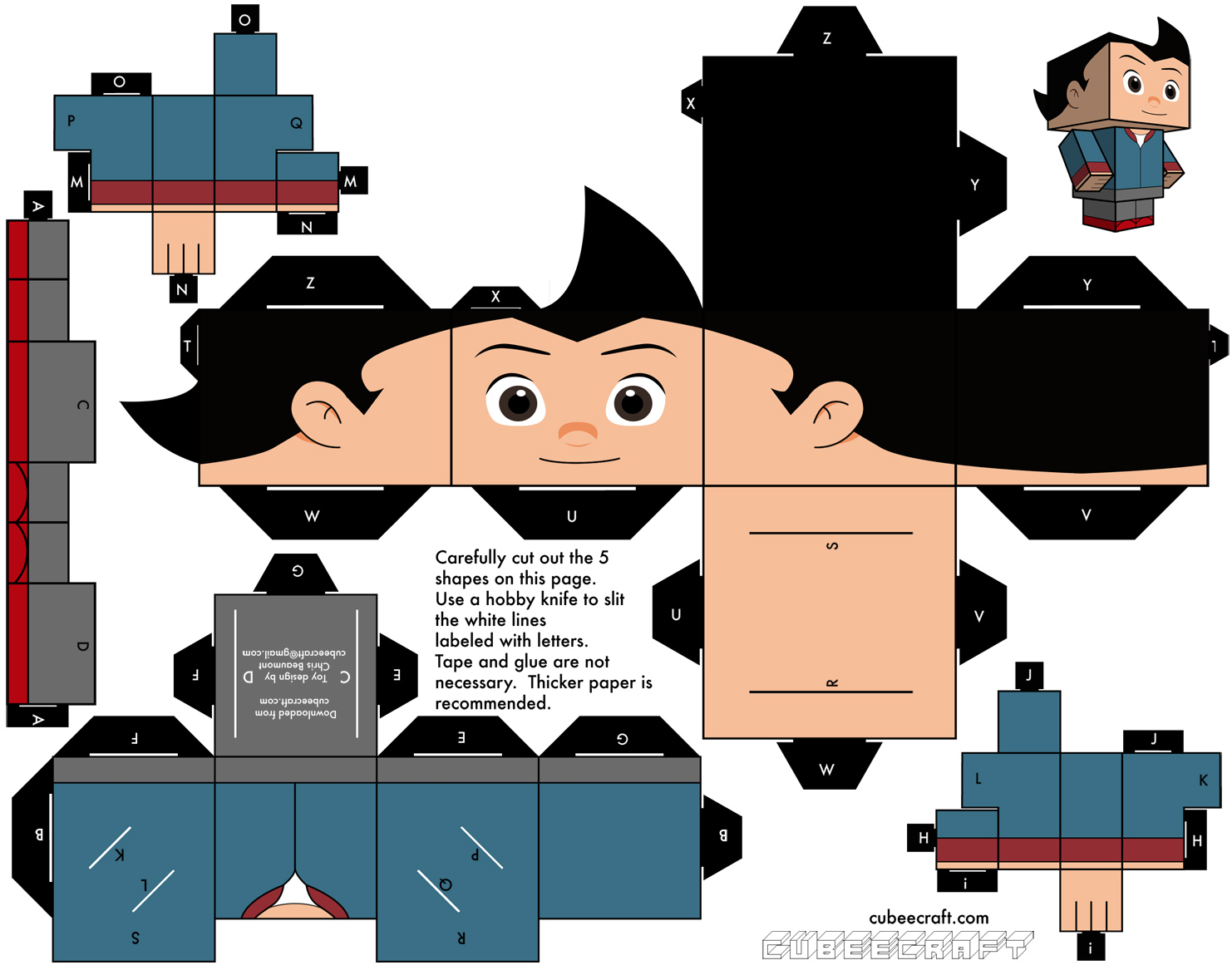 Boy Toys Template : Papertoys astro boy paper toy