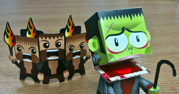 Photo paper toy Frankenstein