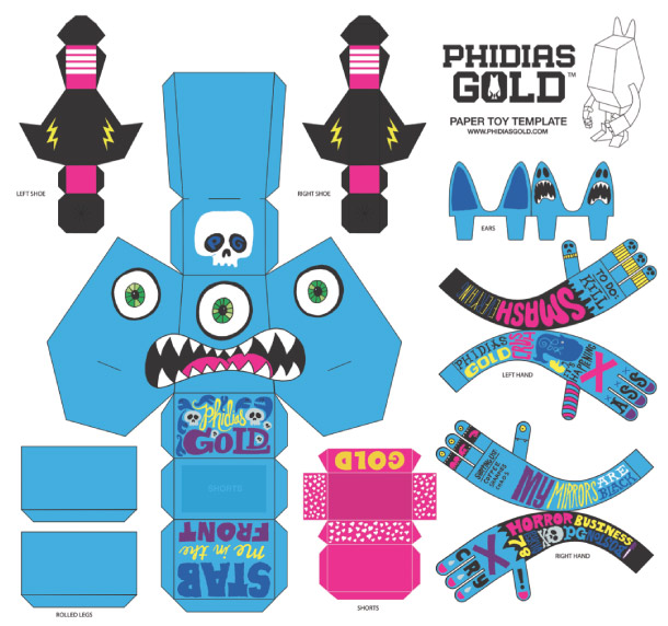 Blog Paper Toy papertoy Phidias Gold Chris Piascik template prev PHIDIAS GOLD Paper Toys (x30 !!!)