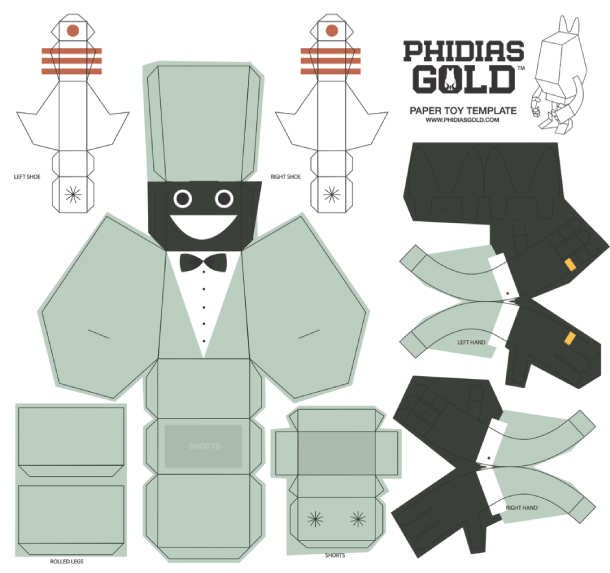 Blog Paper Toy papertoy Phidias Gold James Noellert template prev PHIDIAS GOLD Paper Toys (x30 !!!)