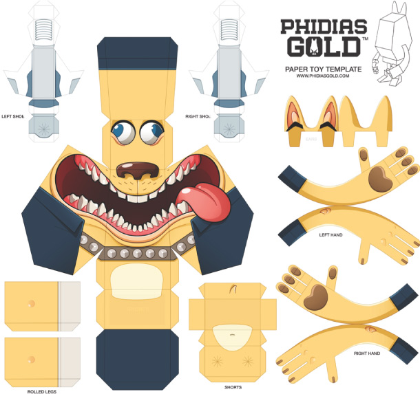 Blog Paper Toy papertoy Phidias Gold Mathieu Beaulieu template prev PHIDIAS GOLD Paper Toys (x30 !!!)