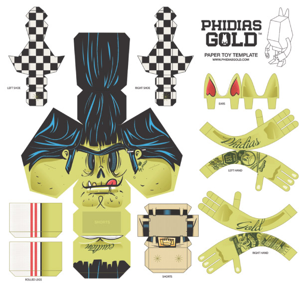 Blog Paper Toy papertoy Phidias Gold Travis Price template prev PHIDIAS GOLD Paper Toys (x30 !!!)