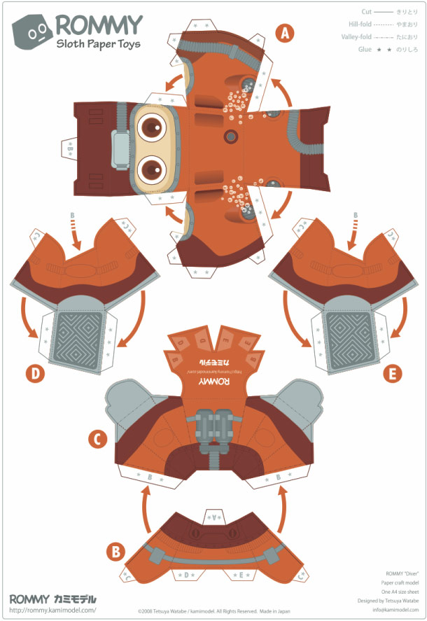 Blog Paper Toy papertoy Rommy diver prev Paper Toys Rommy (Collection x 27 !!!)