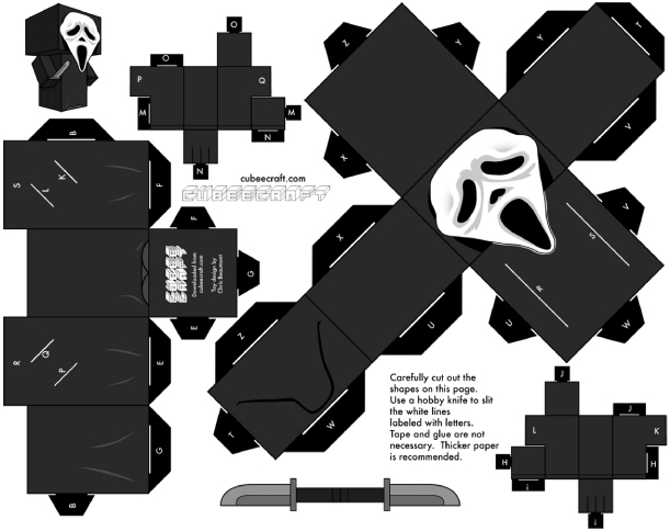 Blog Paper Toy papertoy Scream Cubeecraft template preview Paper toy Ghostface (Scream)