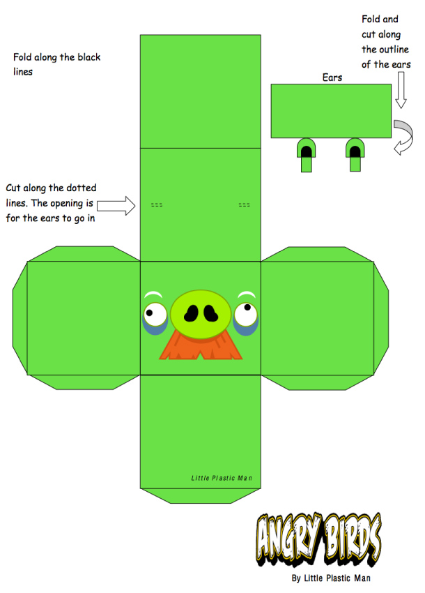 Blog Paper Toy papertoys Angry Birds Old Pig template preview Papertoys Angry Birds (x 8)