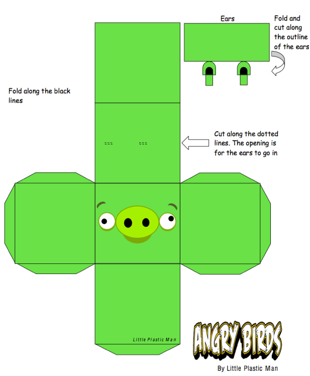 Blog Paper Toy papertoys Angry Birds Pig template preview Papertoys Angry Birds (x 8)