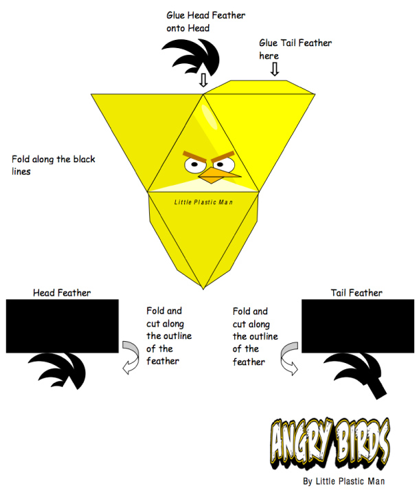 Blog Paper Toy papertoys Angry Birds Yellow Bird template preview Papertoys Angry Birds (x 8)