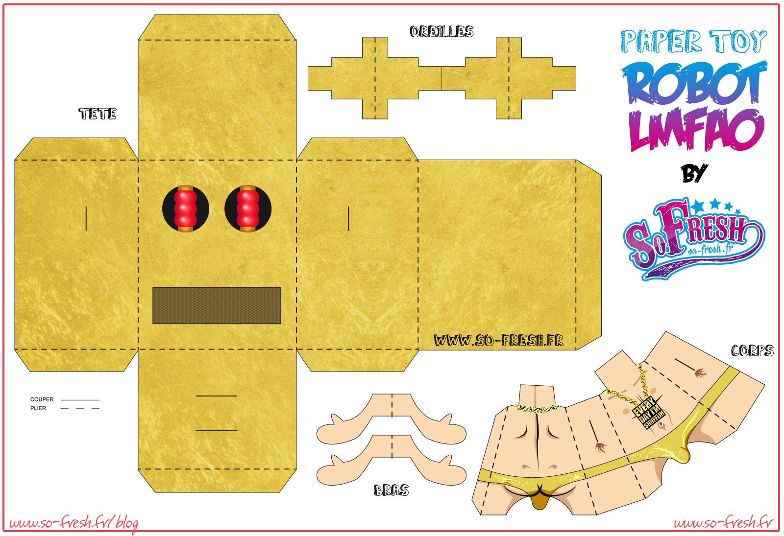 Toy Papertoy LMFAO SoFresh Template Preview Papertoy LMFAO De SO FRESH