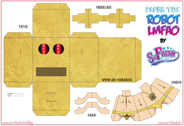 Blog Paper Toy papertoy LMFAO SoFresh template preview Papertoy LMFAO de SO FRESH
