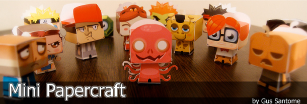 Blog Paper Toy Mini Papercraft website screenshot Mini Ryu papertoy by Gus Santome