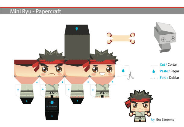 Blog Paper Toy Mini Ryu template preview Mini Ryu papertoy by Gus Santome