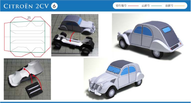 Blog Paper Toy papercraft Citroen 2CV instructions 6 Citroën 2CV en papercraft (x 3)