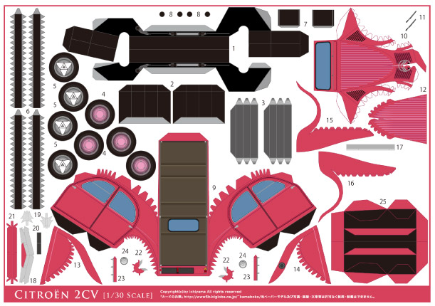 Blog Paper Toy papercraft Citroen 2CV pink template preview Citroën 2CV en papercraft (x 3)