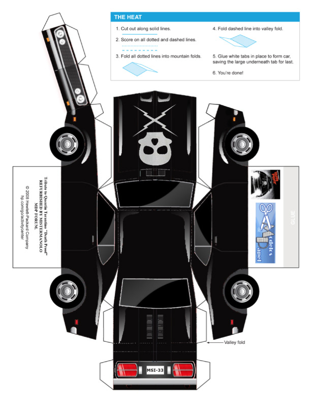 Blog Paper Toy papercraft Death Proof Car template preview Papercraft Death Proof Car