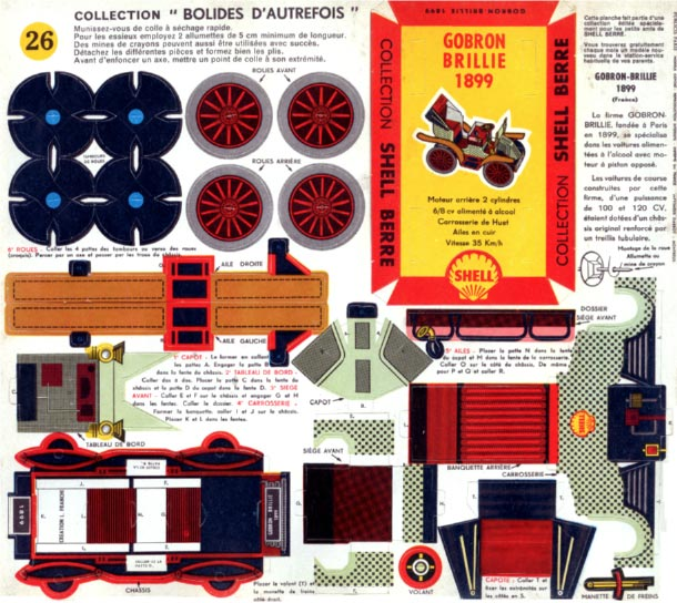 Blog Paper Toy papercraft Taxis Vintage Gobron Brillie 1899 template preview 25 véhicules vintage en papercraft