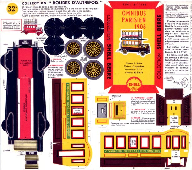 Blog Paper Toy papercraft Taxis Vintage Omnibus Parisien 1906 template preview 25 véhicules vintage en papercraft