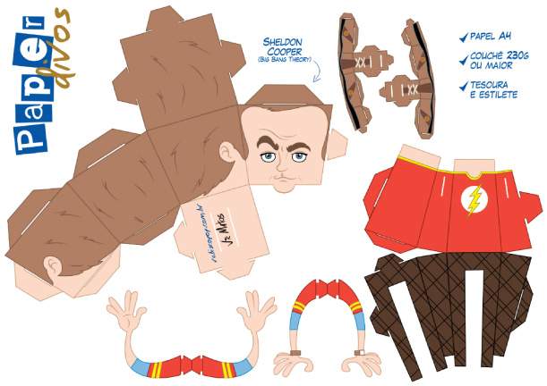 Blog Paper Toy papertoy Big Bang Theory Sheldon Cooper template preview Sheldon Cooper en papertoy ^^