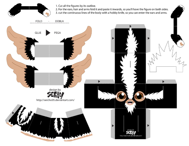 Blog Paper Toy papertoys Gremlins Sercho black template preview Papertoys Gremlins by Sercho (x 2)
