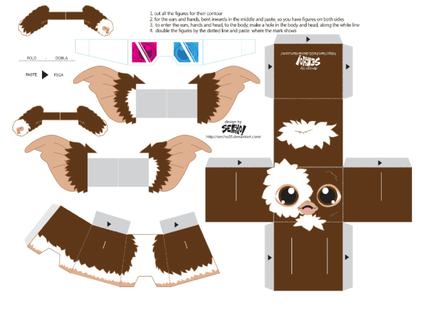 Blog Paper Toy papertoys Gremlins Sercho brown template preview Papertoys Gremlins by Sercho (x 2)