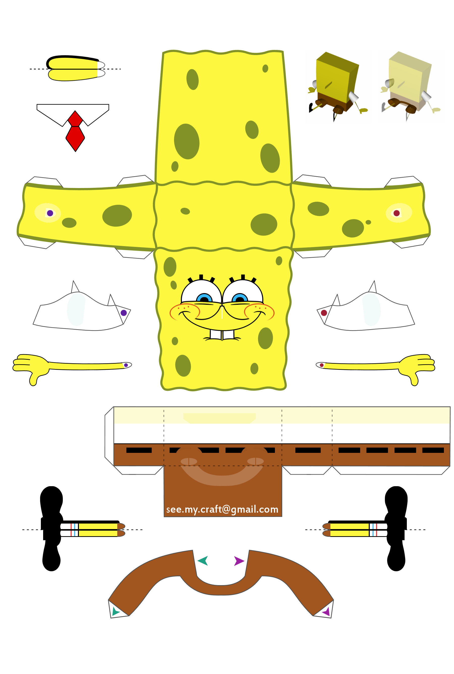 Blog Paper Toy papertoy Spongebob template preview Papertoy de Bob ...