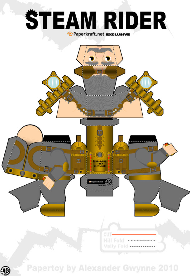 Blog Paper Toy papertoy Steam Rider template preview Papertoy Steam Rider dAlexander Gwynne
