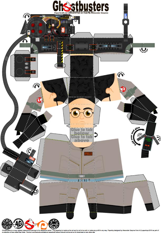 Blog Paper Toy papertoys Ghostbusters Egon template preview Papertoys SOS Fantômes (x 3)