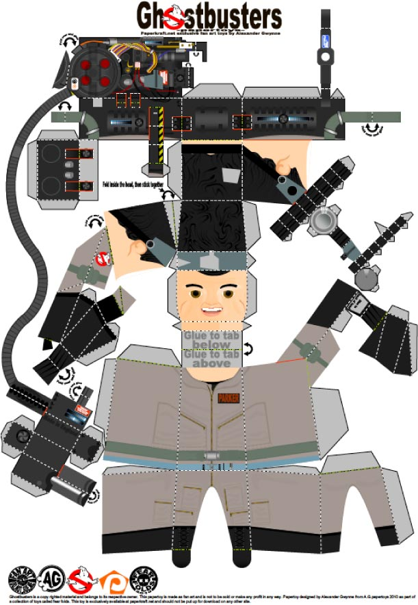 Blog Paper Toy papertoys Ghostbusters Ray template preview Papertoys SOS Fantômes (x 3)