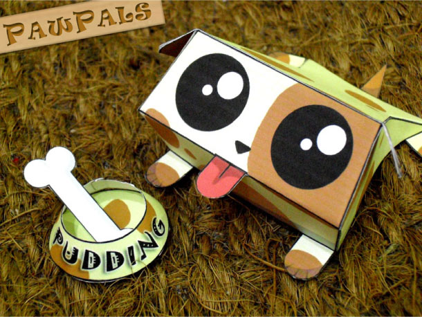 Blog Paper Toy papertoys PawPals Pudding pic Papertoys PawPals de Zakane (x 4)
