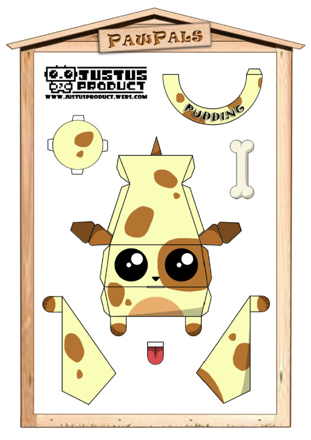 Blog Paper Toy papertoys PawPals Pudding template preview Papertoys PawPals de Zakane (x 4)