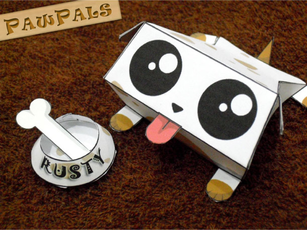 Blog Paper Toy papertoys PawPals Rusty pic Papertoys PawPals de Zakane (x 4)