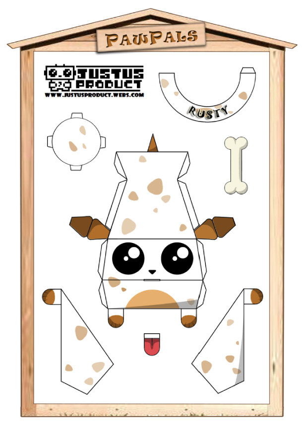 Blog Paper Toy papertoys PawPals Rusty template preview Papertoys PawPals de Zakane (x 4)