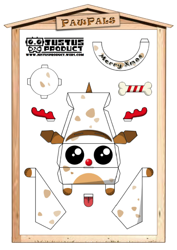 Blog Paper Toy papertoys PawPals Xmas template preview Papertoys PawPals de Zakane (x 4)