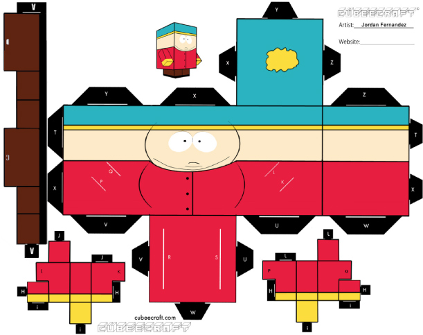 Blog Paper Toy papertoys South Park Cartman template preview Papertoys South Park (x4)