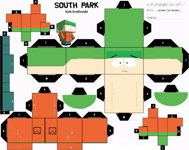 Blog Paper Toy papertoys South Park Kyle template preview Papertoys South Park (x4)
