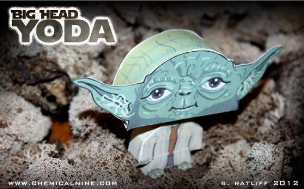 Papercraft imprimible y recortable de Yoda de Star Wars. Manualidades a Raudales.