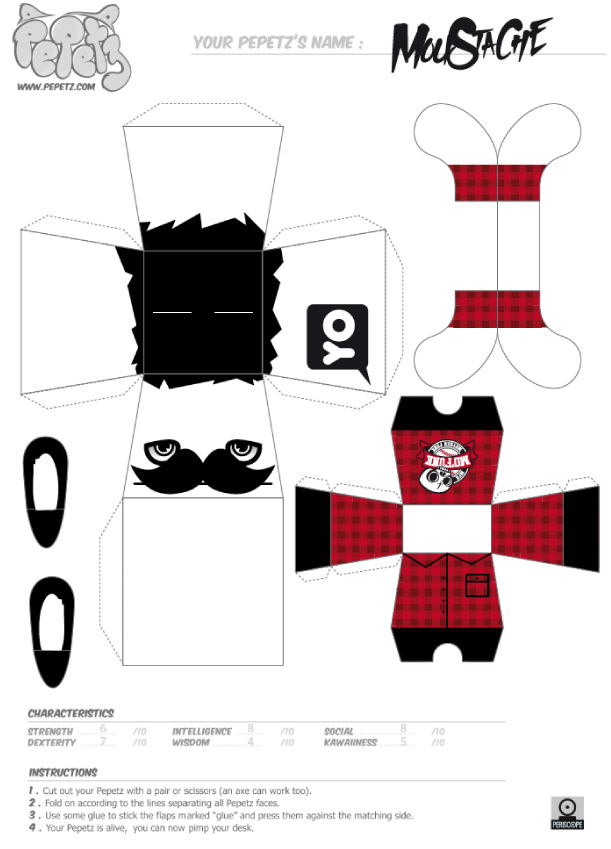 Blog Paper Toy papertoy Pepetz Moustache template preview Pepetz Moustache by ADMSXT
