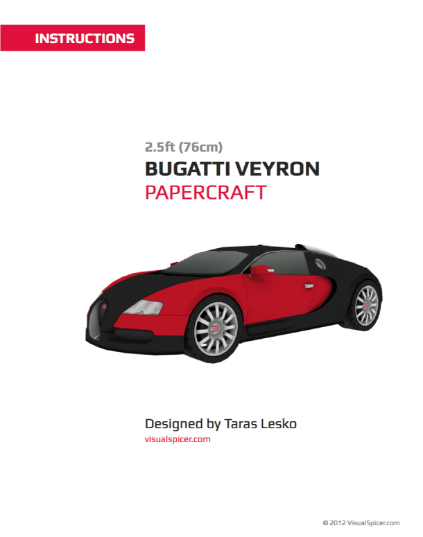 Blog Paper Toy papercraft Bugatti Veyron instructions preview Bugatti Veyron en papercraft (!)