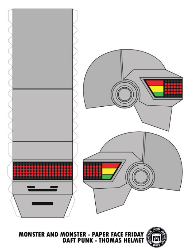 Blog Paper Toy papercraft Daft Punk Helmets Thomas template preview Daft Punk Helmets papercraft (x 2)