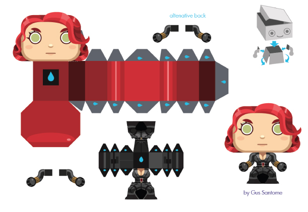 Blog Paper Toy papertoy Black Widow template preview La Veuve Noire en (mini) papertoy
