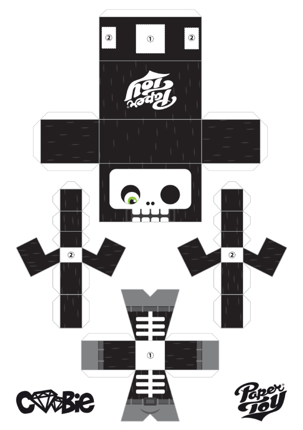 Blog Paper Toy papertoy Coobie La Muerte template preview1 Coobie Toy La Muerte by ADMSXT