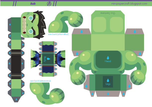 Blog Paper Toy papertoy Hulk template preview Hulk (mini) papertoy de Gus Santome