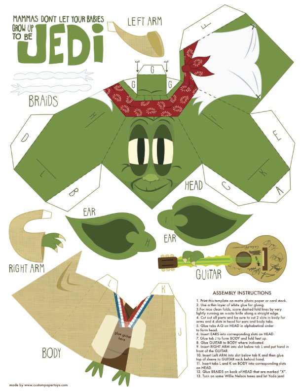 Blog Paper Toy papertoy Yoda template preview Yoda (mashup) papertoy de Matt Hawkins