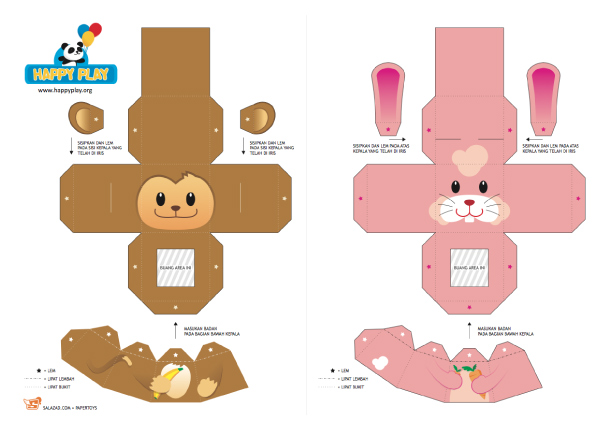 Blog Paper Toy papertoys Finger Puppets Salazad Animals Serie template preview 1 20 Finger Puppet papertoys