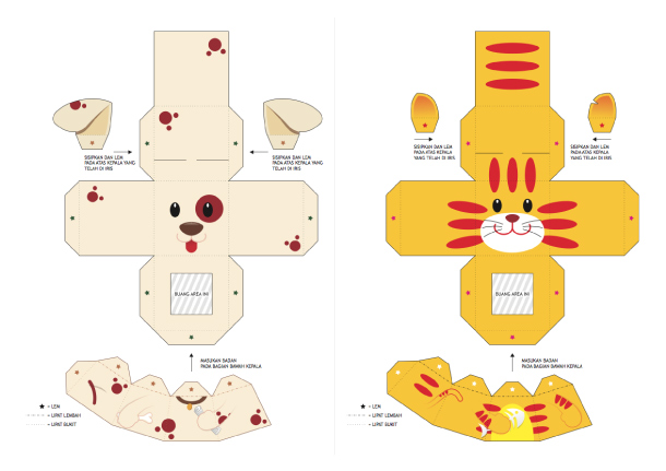 Blog Paper Toy papertoys Finger Puppets Salazad Animals Serie template preview 3 20 Finger Puppet papertoys