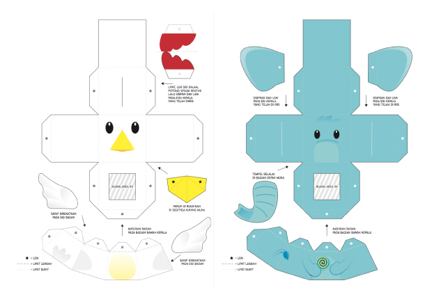 Blog Paper Toy papertoys Finger Puppets Salazad Animals Serie template preview 4 20 Finger Puppet papertoys