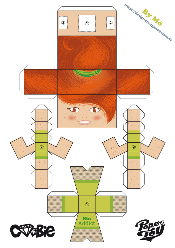 Blog Paper Toy papertoy Coobie Toy BioAddict template preview Coobie Toy Bio Addict by Mô